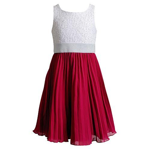 Girls 7-16 Emily West Lace & Pleated Chiffon Skirt Dress