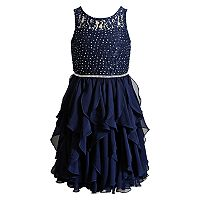 Girls 7-16 Emily West Glitter Cascade Skirt Dress