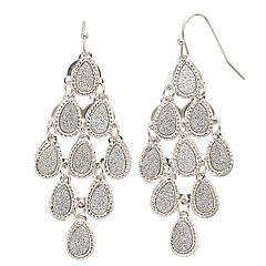 Mudd® Glittery Teardrop Nickel Free Kite Earrings