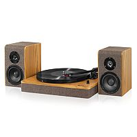 Victrola Wood & Linen Fabric Bluetooth Record Player with 3-Speed Turntable