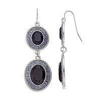 Gray Oval Nickel Free Double Drop Earrings