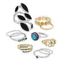 Mudd® Iridescent Stone Ring Set