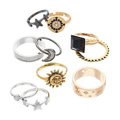 Mudd® Glittery Celestial Ring Set