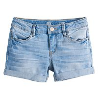 Girls 7-16 & Plus Size SO® Rolled Cuff Shortie Jean Shorts