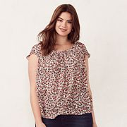 Plus Size LC Lauren Conrad Love, Lauren Pleated Scoopneck Top
