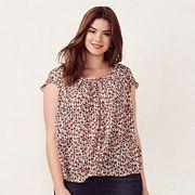 Plus Size LC Lauren Conrad Love, Lauren Pleated Scoopneck Top