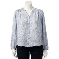 Plus Size LC Lauren Conrad Love, Lauren Print High-Low Blouse