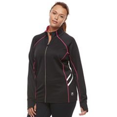 Plus Size FILA SPORT® Contrast Zipper Thumb Hole Jacket