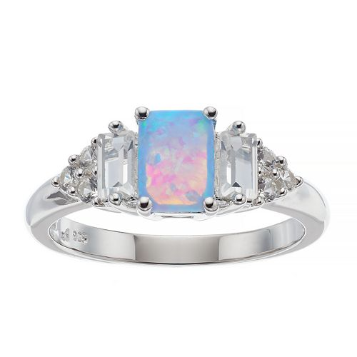 Sterling Silver Lab-Created Opal & White Sapphire Ring