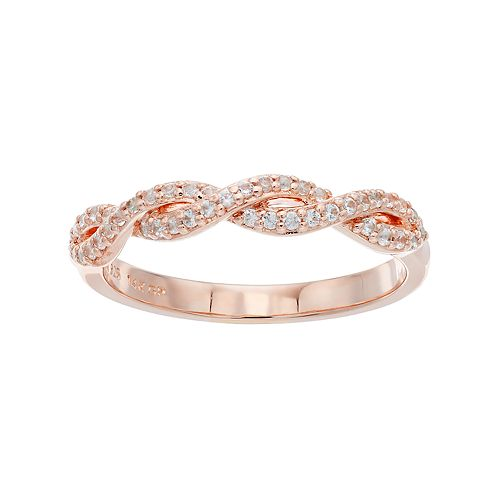 14k Rose Gold Over Silver Lab-Created White Sapphire Twist Ring