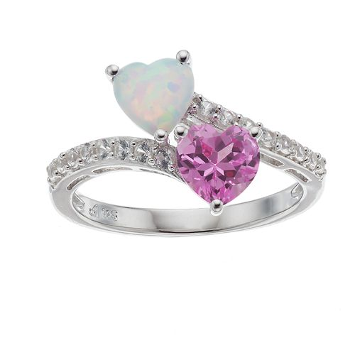 Sterling Silver Lab-Created Opal, Pink & White Sapphire Heart Ring