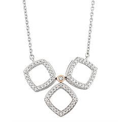 14k White Gold 3/8 Carat T.W. Diamond Tri-Square Necklace