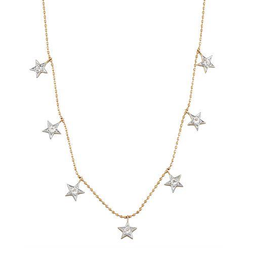 Two Tone 14k Gold 1/3 Carat T.W. Diamond Star Station Necklace