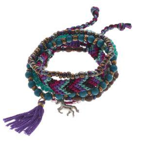 Mudd® Unicorn & Tassel Beaded Stretch Bracelet Set