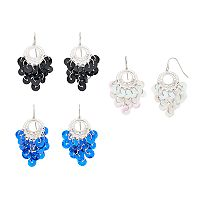 Mudd® Sequin Cluster Nickel Free Chandelier Earring Set