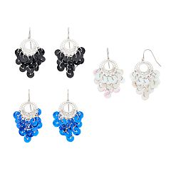 Mudd® Sequin Cluster Nickel Free Chandelier Earring Set