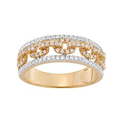 Two Tone 14k Gold 1/2 Carat T.W. Diamond Open Link Ring
