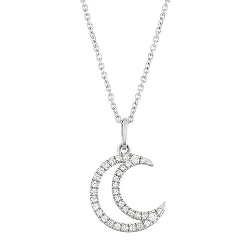 10k White Gold 1/10 Carat T.W. Diamond Crescent Moon Pendant Necklace