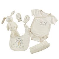 Baby Aspen 5 pc Bunny Welcome Home Bodysuit, Bib & Blanket Gift Set