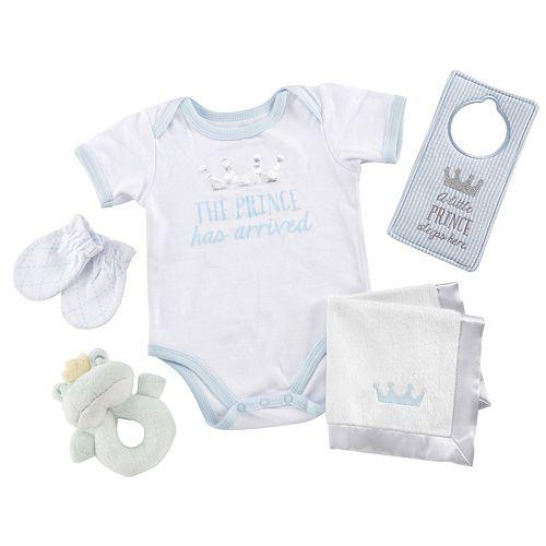 Baby Boy Baby Aspen 6-pc. Little Prince Bodysuit, Rattle & Blanket Gift Set