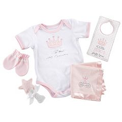 Baby Girl Baby Aspen 6 pc Little Princess Bodysuit, Rattle & Blanket Gift Set