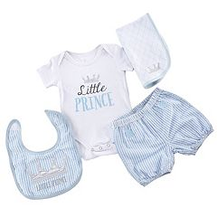 Baby Boy 'Baby Aspen 4 pc Little Prince Bodysuit, Seersucker Shorts, Bib & Burp Cloth Set