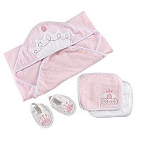 Baby Girl Baby Aspen 4 pc Little Princess Hooded Towel, Wash Cloths & Slippers Bathtime Gift Set