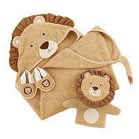Baby Aspen 3-pc. Lion Hooded Towel, Bath Mitt & Slippers Bathtime Gift Set