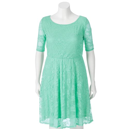 Juniors' Plus Size Wrapper Lace A-Line Dress
