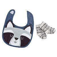 Baby Aspen Forest Friends Raccoon Bib and Socks Set