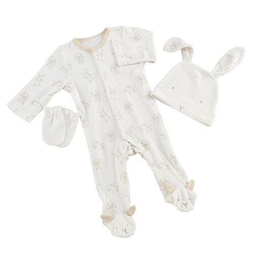 Baby Aspen Natural Baby Bunny Pajama & Mittens Gift Set