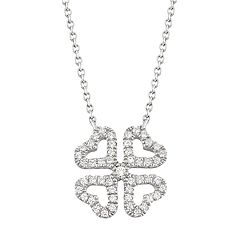 10k White Gold 1/10 Carat T.W. Diamond Four Leaf Clover Necklace