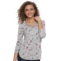 Juniors' Cloud Chaser Floral Cross Front Tee