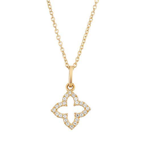 10k White Gold 1/10 Carat T.W. Diamond Flower Pendant Necklace