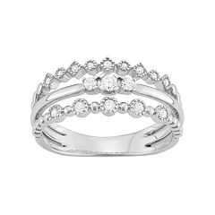 14k White Gold 1/5 Carat T.W. Diamond Split Shank Ring