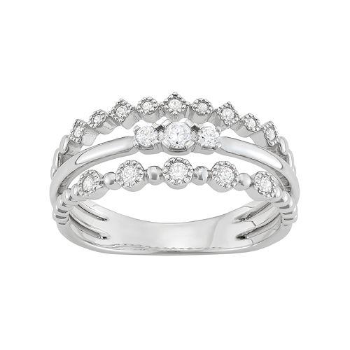 14k White Gold 1/5 Carat T.W. Diamond Split Shank Ring