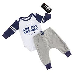 Baby Aspen My First Gameday 2 pc Outfit And Rattle Set