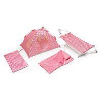 Badger Basket Doll Go Camping Set with Tent, Hammock, Sleeping Bag & Pillow