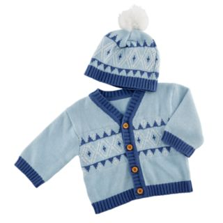Baby Aspen Blue Fair Isle Cardigan And Pom Pom Hat Set