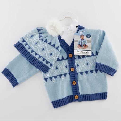 Baby Aspen Blue Fair Isle Cardigan And Pom Pom Hat Set