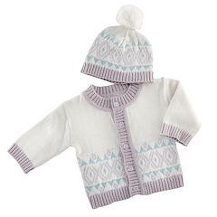 Baby Aspen White Fair Isle Cardigan And Pom Pom Hat Set