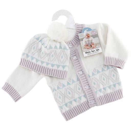 Baby Aspen White Fair Isle Cardigan And Pom Pom Hat Set