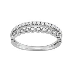 14k White Gold 1/4 Carat T.W. Diamond Split Shank Ring