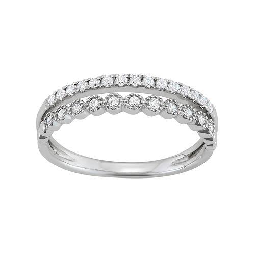14k White Gold 1/4 Carat T.W. Diamond Split Shank Ring