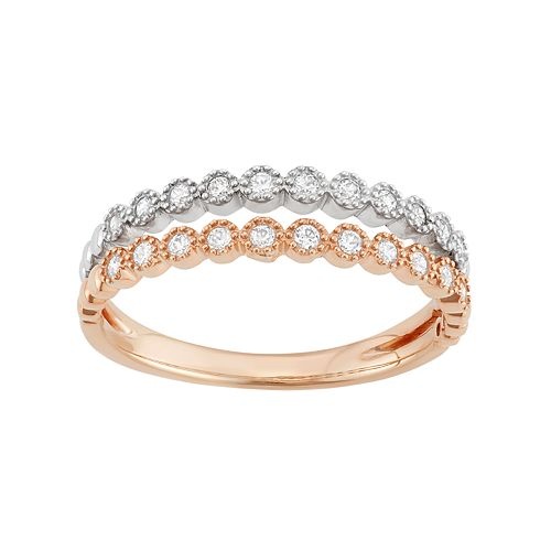Two Tone 14k Gold 1/5 Carat T.W. Diamond Split Shank Ring