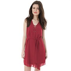 Juniors' IZ Byer Solid Lace-Up Dress