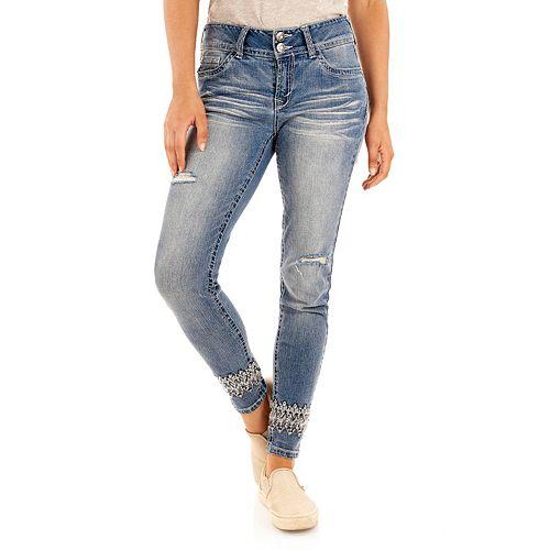 Juniors' Wallflower Curvy Bling Jeans