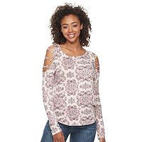 Juniors' Mudd® Lattice Cold-Shoulder Sleeve Top