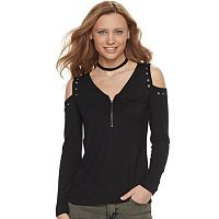 Women's Rock & Republic® Zipper Accent Cold-Shoulder Top