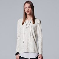Women's Simply Vera Vera Wang Lace-Up Sweater